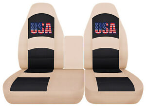 Usa Flag Car Seat Covers Beige Fits Ford F150 Lightning 40 60 Hiback Console