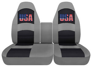 Usa Flag Car Seat Covers Silver Fits Ford F150 Lightning 40 60 Hiback Console