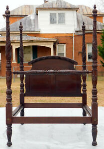 Solid Mahogany Federal Empire Acanthus Carved Poster Bed Full 19th Century