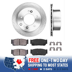 For 2003 2004 2005 2006 Kia Sorento Rear Brake Rotors Ceramic Pads Clips