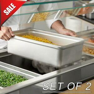 Set Of 2 Full Size 6 Deep Silver Anti jam Stainless Steel Hotel Steam Table Pan