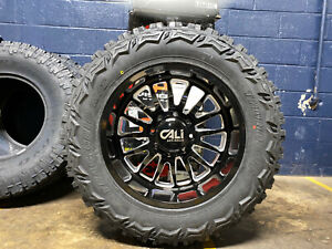 20x10 Cali Summit Black Wheels 35 Mt Tire Package 6x135 Ford F150 Expedition