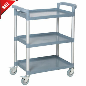 32 X 16 X 38 Gray Open Plastic 3 Shelf Restaurant Utility Commercial Bus Cart