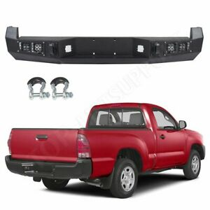 For Toyota Tacoma 13 15 Rear Bumper Steel Black Protector led Lights Textured
