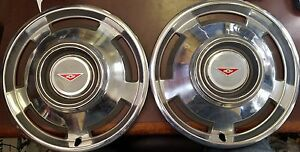 1965 Chevy Corvair 13 Wheel Covers Hubcaps 3962 Set Of 2 Nos