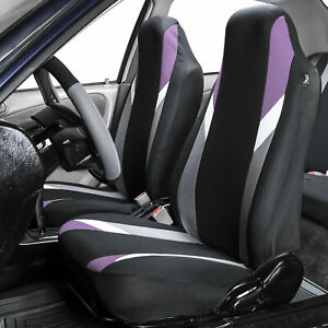 Front Bucket Highback Seat Covers Set For Auto Suv Van Coupe Purple Black