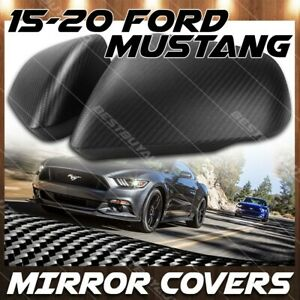 For 15 20 Ford Mustang Matte Carbon Fiber Side Mirror Trim Cover W Signal Cutout