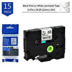 15pk Black Print On White Compatible With Brother Tze 231 Tz231 Label Tape 0 47