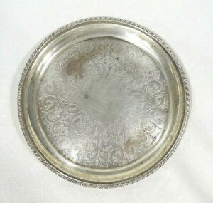 Silver Plate Tray 8 Ornate Design Rope Border Sheffield Reproduction 1382