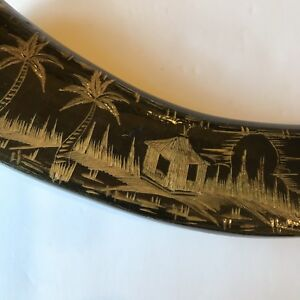 Chinese Ox Horn Hand Carved Vintage Boho Hippy Horn Hunting Outdoors