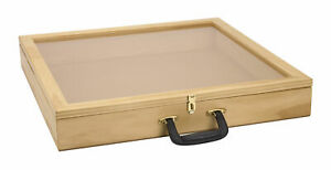 24 Inch Portable Natural Pine Wood Countertop Display Case 24 w X 24 l X 3 d