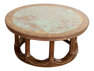 Vintage Hollywood Regency Gold Gilded Marbled Glass Top Coffee Table