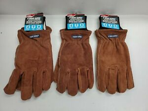 Lot Of 3 Men s Large Firm Grip Suede Leather Work Gloves 63397