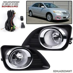 For 2010 2011 Toyota Camry Front Bumper Fog Lights Lamps switch Kit Clear Lens