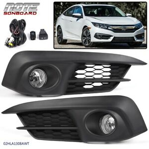 Pair Front Fog Light Clear Lamps Switch bulbs For Honda Civic 2 4dr 2016 2017