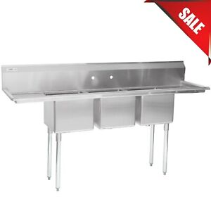 79 3 compartment Stainless Steel Commercial Restaurant Sink With 2 Drainboards