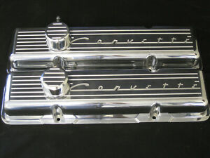Vintage Corvette Script Chevy Sb Small Block Tall Or Stock Height Valve Covers
