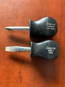 Vin Snap On 2 Pc Black Handle Stubby Screwdriver Set Ssdp22 Phillips Ssd1 Flat