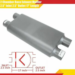 2 5 Inlet 2 5 Outlet Dual Race Exhaust Muffler 2 Chamber 17 Oval Body Length