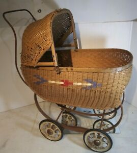 Vintage 1930s Wicker Baby Doll Carriage Push Stroller South Bend Toy Co Nice Htf