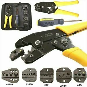 5 In 1 Insulated Wire Cable Connectors Terminal Ratcheting Crimper Tool Kit