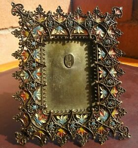 Antique Colorful Floral Filigree Metal Photo Picture Frame