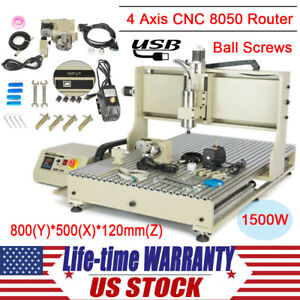 4 Axis Cnc 8050 Usb Router Engraver 1500w Vfd Engraving Machine For Wood Pcb Pvc