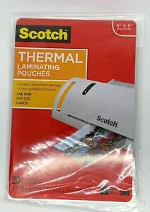 Scotch Thermal Laminator Pouches 20 pkg 4 x6 021200468803