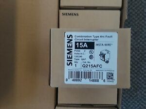 1 Lot Of Five Siemens 2pole 15a Arc Fault Circuit Breaker