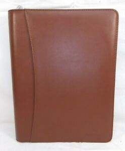 Lautus Designs Light Brown Faux Leather Zippered Portfolio W 8 5x11 Notepad
