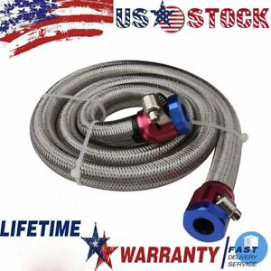 Steel Braided Universal Fuel Petrol Gas Line Fits Standard 3 8 Inch Hose Barb