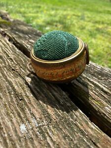 Antique Victorian Hand Embroidered Trim Pin Cushion Vintage Very Old