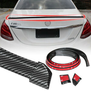 Universal 4 9ft Carbon Fiber Pu Car Rear Roof Trunk Spoiler Wing Lip Sticker Kit