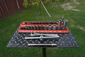 Vintage Craftsman 29 Pc 3 8 Drive sae Metric Socket Wrench Set made In Usa
