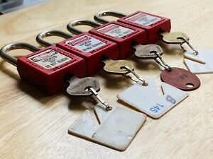 4 X Master 410 Red Loto Lockout Tagout Padlock Keyed Different Kd Locksport