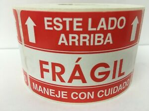 Fragile This Side Up Spanish Handling Care Warning Stickers 2 Rolls 1000 Labels