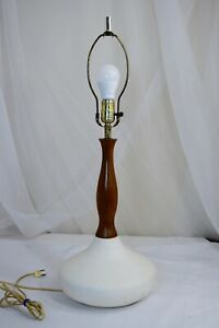 Mid Century Modern Table Lamp With Teak Danish Style Modernist