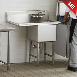38 1 Compartment Stainless Steel Commercial Utility One Sink Left Drainboard