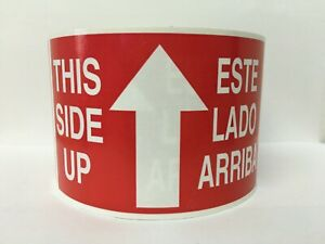 Este Lado Arriba arrow This Side Up Fragile Spanish Stickers 2 Roll 1000 Labels