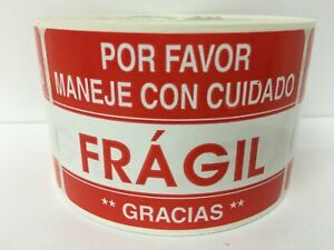 Spanish Fragile fragil Handling Care Caution Stickers 2 Rolls 1000 Labels