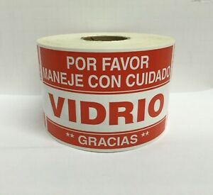 Spanish Fragile vidrio Glass Careful Warning Stickers 2 x3 1000 Labels