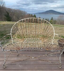 Antique Victorian 1800 S Wire Bench French Garden White Farmhouse Country