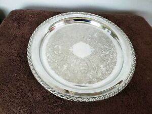Oneida Silver Plated 12 1 4 Round Serving Tray Platter Patterned With Rope Rim