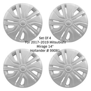 New Wheel Covers Hubcaps Fits 2017 2020 Mitsubishi Mirage 14 Silver 10 Spoke