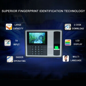 4 Tft Lcd Screen Biometric Fingerprint Password Attendance Machine Clock B1b3
