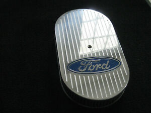 Ford Logo Ball Mill 15 Inch Oval Air Cleaner K n Element Chevy