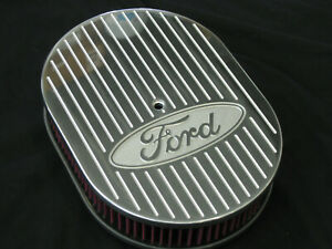 Ford Logo Ball Mill 12 Inch Oval Air Cleaner K n Element Chevy