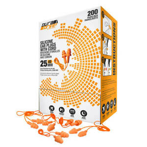 Duradrive Reusable Triple flange Silicone Earplugs With Cord 200 pair