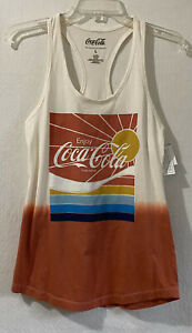 Coca-Cola Womens tank top size large white coral new