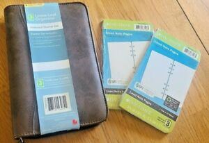 Day timer Size 3 Loose Leaf Organizer Brown W lined Note Pages 2 Packs 809218